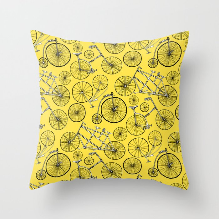 Monochrome Vintage Bicycles On Bright Yellow Throw Pillow