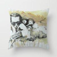 miles davis Throw Pillows featuring Classic Material Series - Miles' Reign (c.2006) by Craig A. Hamilton
