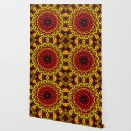 Fiery Fractal Mandala Wallpaper