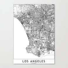 Los Angeles White Map Canvas Print