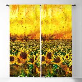 abstract sunflowers wsstd Blackout Curtain
