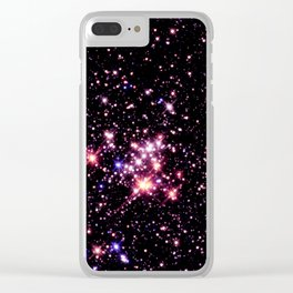 Quintuplet Cluster Pink Coral Violet Clear iPhone Case