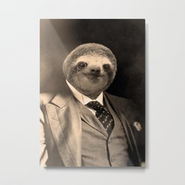 Gentleman Sloth with Monocle Metal Print