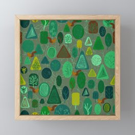 squirrel in forest Framed Mini Art Print