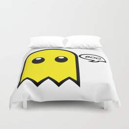 Cute ghost yellow spooky boo Duvet Cover
