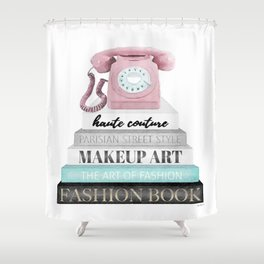 Vintage phone, retro, Pink, Books, Fashion books, Gray, Teal, Fashion, Fashion art, fashion poster, Shower Curtain