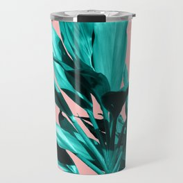 Tropical Leaves with a Pink Cricket Travel Mug