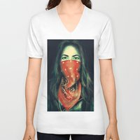 1975 V-neck T-shirts featuring GIRL BANDIT by crystaltaysm
