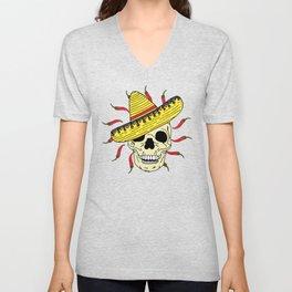 Skeleton Skull Wearing Sombrero and Chilli Peppers Unisex V-Neck