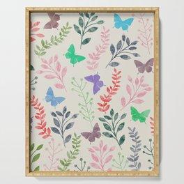 Watercolor flowers & butterflies Serving Tray