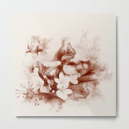 Sepia toned tropical flowers and butterflies Metal Print