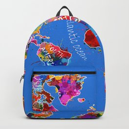 world map color splatter blue Backpack