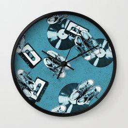 Retro music pattern monochrome Wall Clock