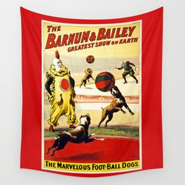 Barnum and Bailey Circus Football Dogs Wall Tapestry