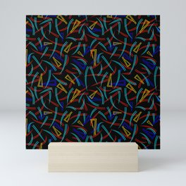 Neon abstraction of rounded multicolored triangles and smooth lines on a black background. Mini Art Print