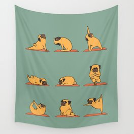 Pug Yoga Wall Tapestry