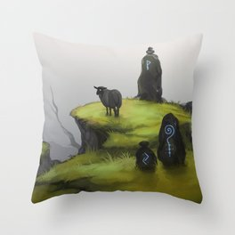 Ruins - green Throw Pillow