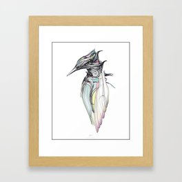 Kingfisher 1h. Full color plus black borders with white background-(Red eyes series) Framed Art Print