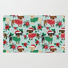Dachshund christmas sweater florals poinsettia holiday red and white santa hat for dog lover Rug