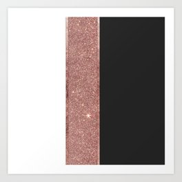 Modern Rose Gold Glitter Black White Color Blocks Art Print