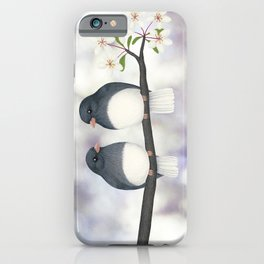dark eyed juncos (bokeh and blossoms) iPhone Case