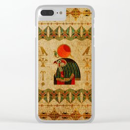 Egyptian Horus Ornament on Papyrus Clear iPhone Case