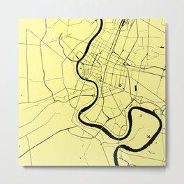 Bangkok Thailand Minimal Street Map - Pastel Yellow and Black Metal Print