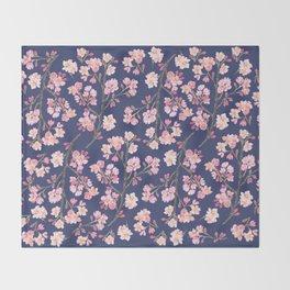 Cherry Blossom Pattern on Navy Throw Blanket
