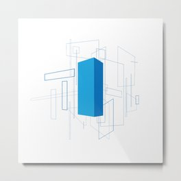 Blueprint #3 (blue) Metal Print