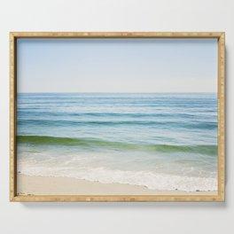 Ocean Seascape Photography, Blue Sea Landscape, Beach Waves Coastal, Seashore Horizon Serving Tray