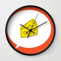 cheese Wall Clocks featuring cheese by ariel kotzer