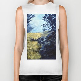 Crows Over Wheat Field Biker Tank