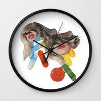 pills Wall Clocks featuring PILLS by Luca Mainini