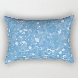 Azure Blue Polka Dot Bubbles Rectangular Pillow