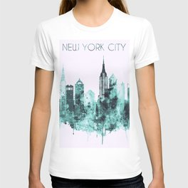 New York City blue watercolor skyline T-shirt