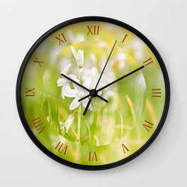 White Ornithogalum nutans flower Wall Clock