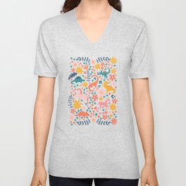 Floral Burst of Dinosaurs + Unicorns Unisex V-Neck