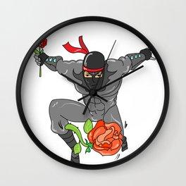 Romantic Ninja - Love Valentine's day Rose Wall Clock