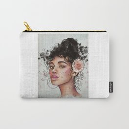 Woman's portrait with flower in her hair Carry-All Pouch