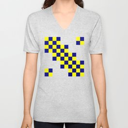 Yellow and dark blue squares Unisex V-Neck