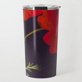 Tall red flowers in a glass vase Travel Mug