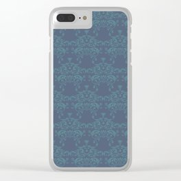 Vintage teal blue elegant floral damask Clear iPhone Case