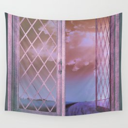 Lavender Fields in Window Shabby Chic original art Wall Tapestry