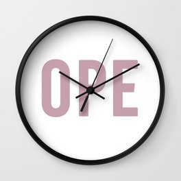 OPE Pink Text Wall Clock