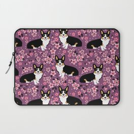 Welsh corgi tricolored cherry blossoms botanical florals japanese flowers dog breed corgis Laptop Sleeve