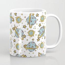 Alien Planet Background Seamless Vector Pattern, Hand Drawn Galaxy Coffee Mug