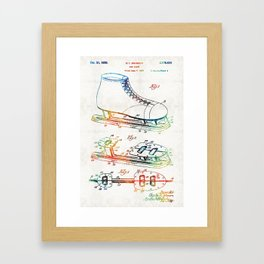 Ice Skate Patent - Sharon Cummings Framed Art Print