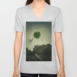 Greening of the foggy town Unisex V-Neck