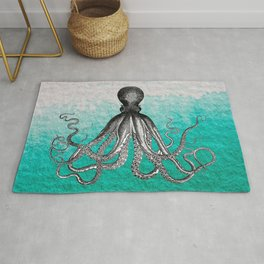 Antique Nautical Steampunk Octopus Vintage Kraken sea monster ombre turquoise blue pastel watercolor Rug