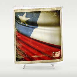 Chile grunge sticker flag Shower Curtain